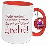 Tasse Rot voll mit Spruch: Das schönste an meinem job ist, dass sich der stuhl dreht... Geschenk Geburtstag Kaffee Becher Tasse Tee, Keramik, 300 ml