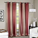 Deco Window (Set of 2) Eyelet Door Curtain 7.5Ft.-Burgundy