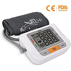 SIMBR Tensiómetro de Brazo Automático Tensiómetros Eléctricos con Manguito Función de Memoria (2 * 90) Certifica FDA CE ROHS Blanco 22-42cm