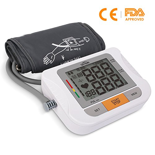 SIMBR Tensiomètre au Bras Électronique Automatique avec Grand Écran LCD, Mémoire élevée de 180 Données Mesure de Tension Artérielle pour 2 Utilisateurs Brassard 22-42cm