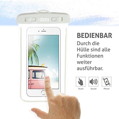Naruba Media Waterproof | wasserdichte Handyhülle für alle Smartphones bis zu 6 Zoll |19,5 x 11,5 x 1,2 cm| inklusive Gurt und Schnellverschluss |Blau Weiß