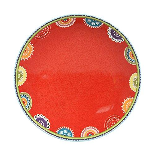 Novastyl 8018015 Caracas Lot de 6 Assiettes Calottes Céramique Rouge 21,6 x 21,6 x 5,1 cm