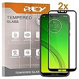 REY Pack 2X Pellicola salvaschermo 3D per Motorola Moto G7 Power, Nero, Copertura Completa, Pellicola Protettiva Protezione Schermo, 3D / 4D / 5D