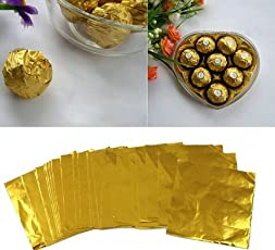 Amit Marketing Silver Foil Plain Paper for Chocolate & Sweet Wrapping (Gold)- Pack of 100pc