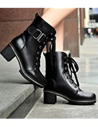 &ZHOU Botas otoño y del invierno botas cortas mujeres adultas 'Martin botas botas Knight a7 , black , 35
