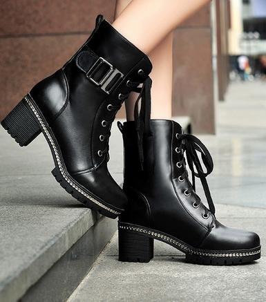 &ZHOU Bottes d'automne et d'hiver courtes bottes femmes adultes Martin bottes Chevalier bottes a7 Black