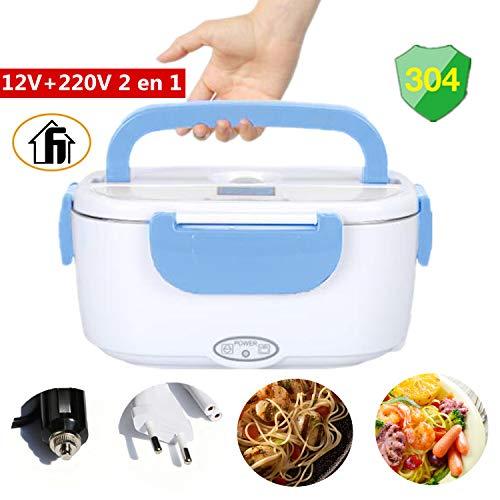 Nifogo lunch box elettrico 2 in 1 contenitore elettrico portavivande elettrico scaldavivande per l'ufficio, casa, scuola 12v e 220v 40w (azzurro)