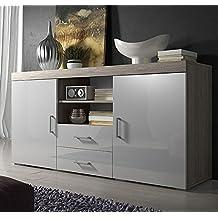 Muebles Bonitos-Aparador de diseño modelo Taby en color sonoma blanco