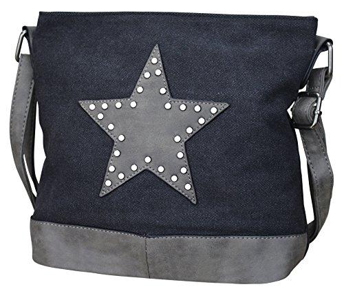 Damen Stern Handtasche Schultasche Clutch TOP TREND Tragetasche (M1 Schwarz/Grau) (Tasche Damen)