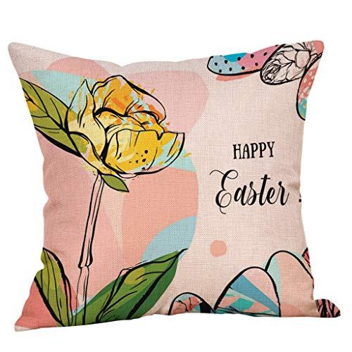 JMETRIC_Kissenbezug Ostern Leinen Kissen Kissenbezug Niedlichen Kaninchen Schlafzimmer Wohnzimmer Dekoration Dekokissen(L)