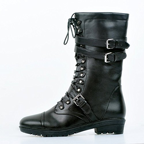 Kolnoo Femmes Mode Euro Style Bottes Cavalier Or Métal Deco hiver Chaussures Sexy Black