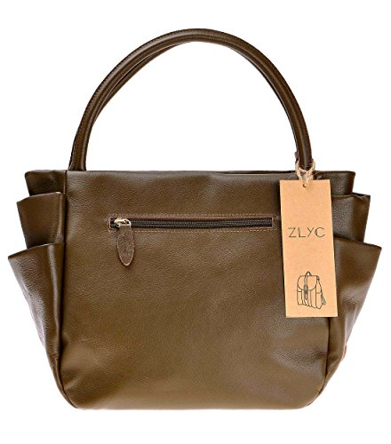 ZLYC, Borsa a tracolla donna Olivedrab Width 40 cm, height 25 cm, thickness 14 cm Olivedrab