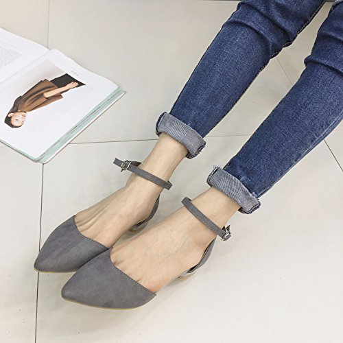WYMBS femmes chaussures plates occasionnels chaussures de travail confortables talons plats gray