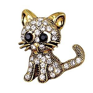 Homyl Damen Brosche Katzen-Stil Tier Broschen Süße Katze Strass Brosche Sicherheitsnadel Modeschmuck