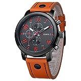 Souarts Homme Montre 1PCS Bracelet Quartz Analog Cadran Rond Business Sangle en Cuir PU Couleur Orange 25.5cm