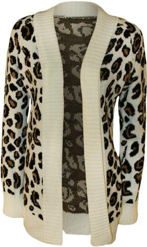 WearAll - Damen Leopard Druck Gestrickt Offen Strickjacke Top - Crème - 36-38 (Pullover Leopard)