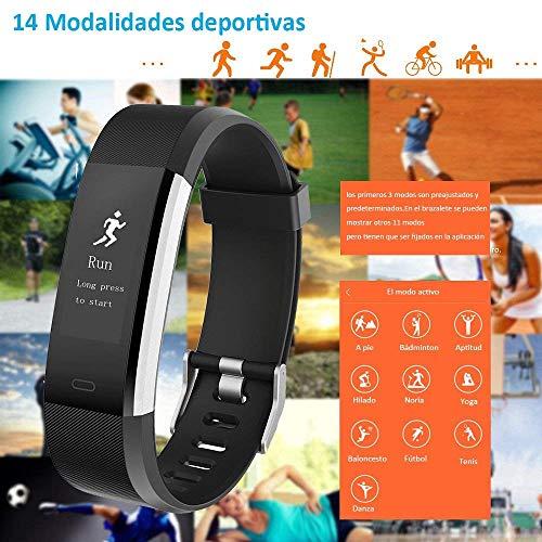 Imagen de yamay pulsera actividad con pulsómetro mujer hombre, monitor de actividad deportiva, ritmo cardíaco, impermeable ip67, reloj fitness, smartwatch con podómetro alternativa