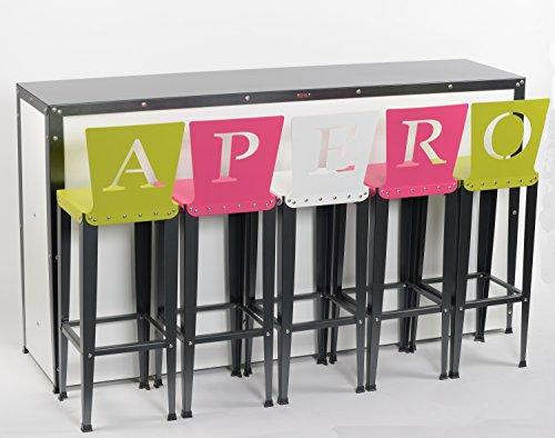 Styl'Métal 21 Lot 5 chaises de bar Lilou APERO métal noir/blanc/vert anis/fuschia