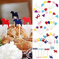 Generic Number 1 : Various 50pcs Picks Felt Fabric Toothpick Food Sandwich Cupcake Toppers Decor