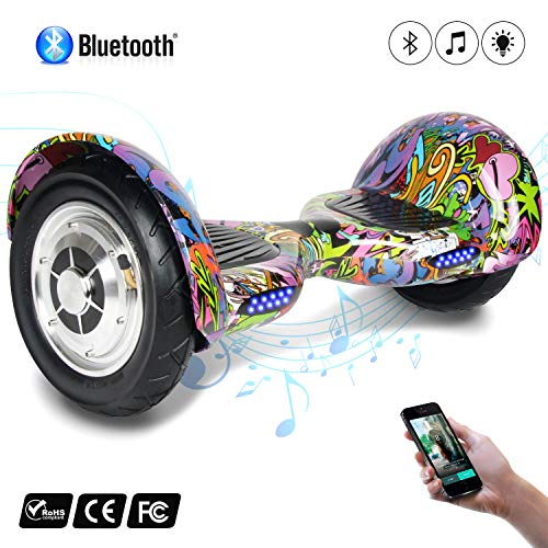 COLORWAY Smart Scooter Electronik Self Balance Hoverboard 10 Zoll Aufblasbare Reifen mit Bluetooth & LED E-Skateboard