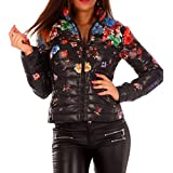 Damen Übergangs Jacke Steppjacke Blumen Druck, Farbe:Schwarz;Größe:36