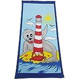Toalla de playa / Toalla de baño / toalla de playa / toalla con Foca y Faro Aprox. 150 x 70 cm