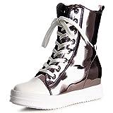 topschuhe24 1037 Damen Sneaker Turnschuhe Hochschaft Hidden Wedges, Farbe:Grau, Größe:38 EU