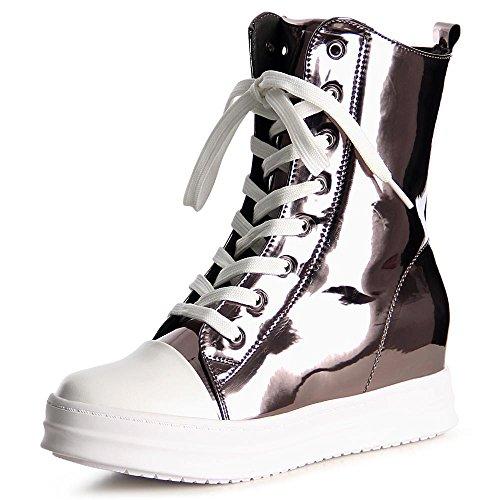 Topschuhe24 Sneaker Da Donna 1037 Da Donna Con Tacchi Zeppe Nascoste Grigie