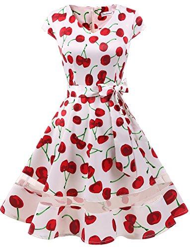 (Gardenwed Damen 50s Retro Schwingen Vintage Rockabilly Knielang Cocktailkleider Partykleider White Cherry XS)