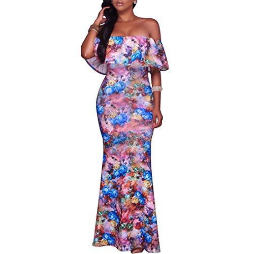 Synker Damen Sommerkleid Blüte Drucken Cocktailkleid Schulterfrei Lang Abendkleid Partykleid Maxikleid Violett