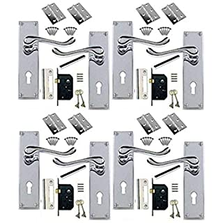 4 Sets of Victorian Scroll Polished Chrome Door Handle Lock Pack +2 Lever Lock + Hinges