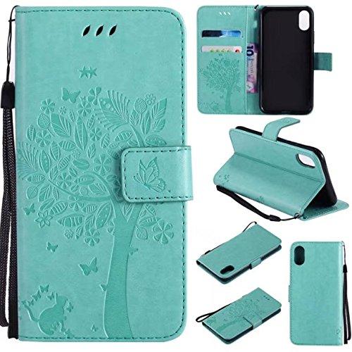 Retro Art-Katze und Baum prägeartiges Muster-Kunstleder-Kasten-Abdeckung mit Kartenschlitzen und Lanyard für iPhone X ( Color : Red ) Green