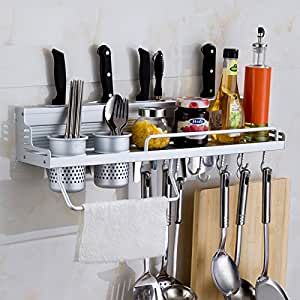 Kawachi Kitchen Utensil Holder Premium Quality Aluminium- Holder For Kitchen Counter Top Storage Spice Bottle Rack With Removable Glass-Holders