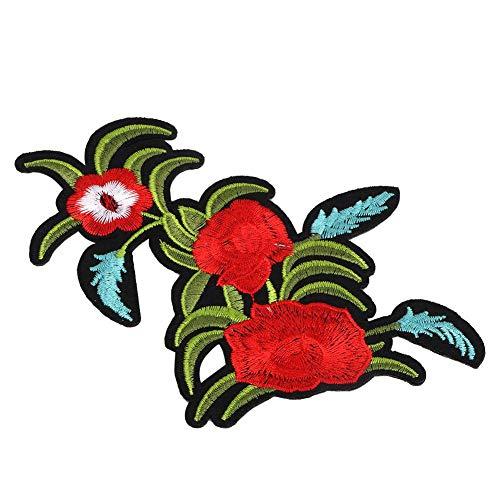 Rote rose tuch aufkleber, gestickte patch diy dekoration kleidung eisen nähen aufkleber handwerk zubehör