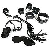 D. sasmey espesan peluche esposas collar cuerda pequeño material de piel látigo Eyeguard tied juguetes 7 piezas/traje (negro)