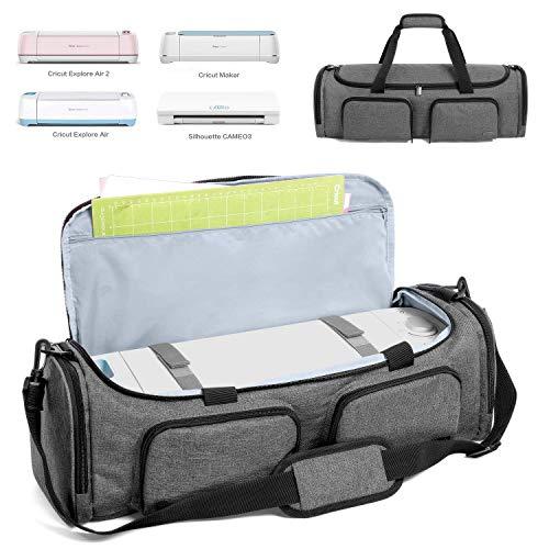 Luxja Tasche für Silhouette Cameo 3, Aufbewahrungs- und Transport-Tasche für Hobby Plotter samt Zubehör, Plottertasche (für Cameo 3, Cricut Explore Air (Air2) and Maker), Grau