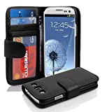 Cadorabo Book Style Wallet Design for > Samsung Galaxy S3 (I9300) < with 3 Card Slots and Money Pouch - Etui Case Cover Protection in OXID-BLACK