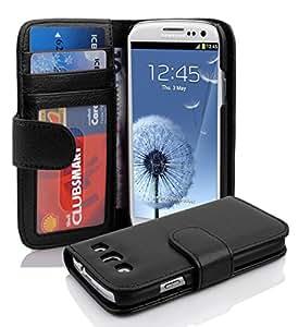 Cadorabo - Custodia Book Style Design Portafoglio per > Samsung Galaxy S3 < (NON per S3 MINI) con 3 Vani di Carte - Etui Case Cover Involucro Bumper in NERO-PROFONDO