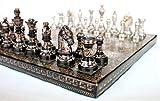 KLEO Stonkraft Ensemble d'échecs en Laiton Plat à la Main 31 x 31 cm - Ensemble d'élastique argenté et Noir avec pièces d'échecs luxueuses et luxueuses