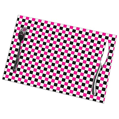 Dimension Art Pink and Black Checkers Patterns Placemats Set of 6 for Dining Table Washable Polyester Placemat Non-Slip Wear and Heat Resistant Kitchen Table Mats Easy to Clean Hot Pink Checker