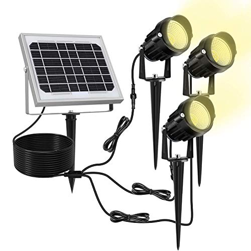 MEIKEE Solar Gartenleuchte 3 Stück mit Erdspieß Solarleuchte aus Metall Gartenstrahler IP66 wasserdichte schwenkbar Strahler 3000K Warmweiß