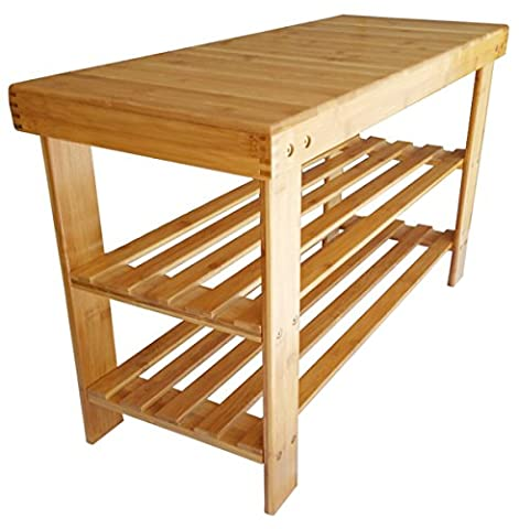Adoraland Bamboo Bench for Shower Entryway and Shoe with Seat