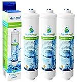 3x AquaHouse AH-UIF Kompatibel Universal Kühlschrank Wasserfilter passt für Samsung LG Daewoo Rangemaster Beko Haier usw. Kühlschrank Gefrierschrank