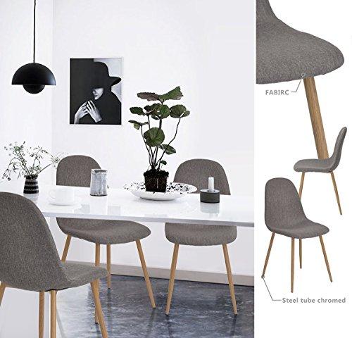 Aingoo conjunto de 4 tela con sal n comedor sillas for Sillas comedor tapizadas tela