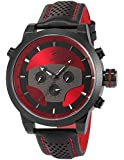Red Requiem Shark Series Dual Time Zone Analog Date Day Mens Black Leather Sport Wrist Watch SH207