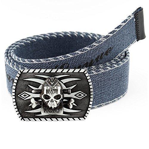 Cintura in stoffa per uomini e donne Cintura In Tessuto Jeans Vintage Fibbia cintura extra forte cintura (15 Colori 20 Modelli) G102 - Sculto Coca Cola 2, Blu