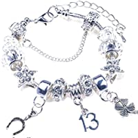 38e809287 13th Birthday Bracelet, Silver Charm Bracelet, Silver, Crystal, with  Complementary Gift Box