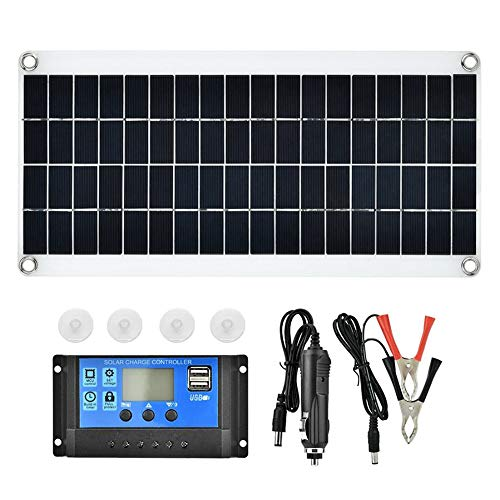 Festnight 15 W 5 V tragbarer doppelter USB-Anschluss Flexibles, hocheffizientes Sunpower Polycrystalline Solar Panel Power Kit mit Controller (15 Solar-panel)
