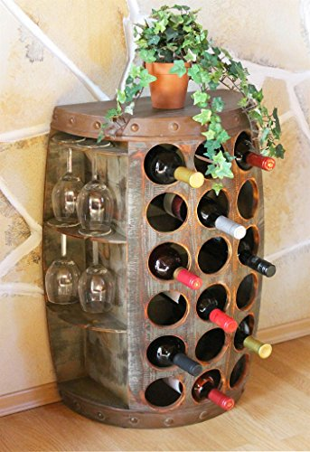 DanDiBo Weinregal Weinfass 1486 Beistelltisch Schrank Fass aus Holz 72cm Weinbar Bar -