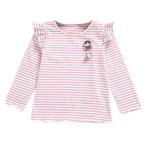Yanhoo Mädchen Langärm T-Shirt Herbst Kinder Gestreiftes Holzohr Hemd Niedliche Baby Wilde Tops Cartoon Weichen Kleinkind Kinder Tops Shirt Bekleidung